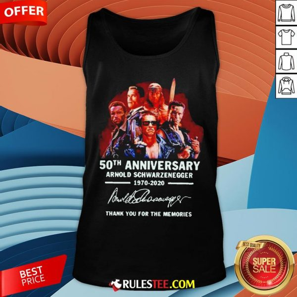 Arnold Schwarzenegger 50th Anniversary Thank You For The Memories Tank Top - Design By Rulestee.com