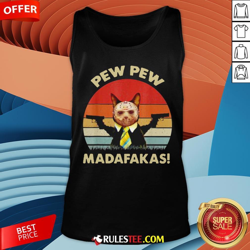 Cat Jason Voorhees Pew Pew Madafakas Vintage Retro Tank Top - Design By Rulestee.com