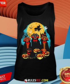 Dachshund Dracula Pumpkin Moonlight Happy Halloween Tank Top - Design By Rulestee.com