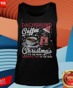 Dachshund Coffee Christmas It's The Most Wonderful Time Of The Year Tank Top