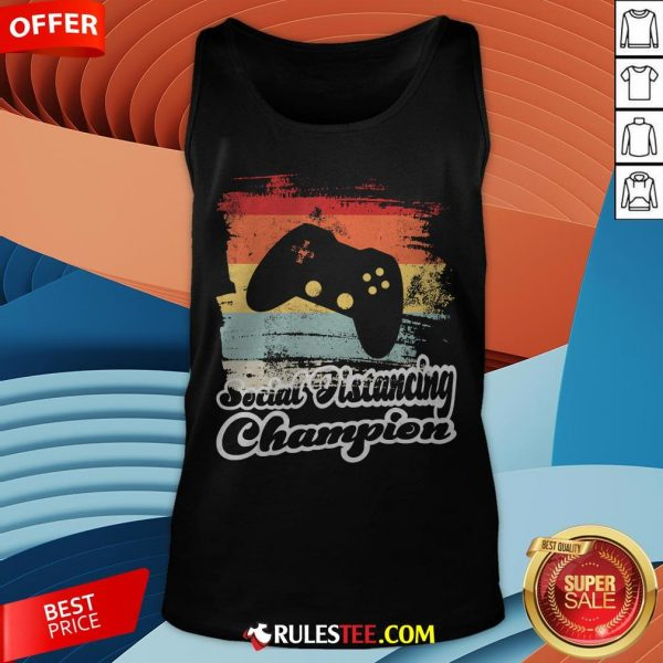 Social Distancing Champion Gaming Controller Vintage Retro Tank Top - Design By Rulestee.com