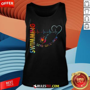 Colorful Swimming Live Love Swin Heart Beat Tank Top - Design By Rulestee.com