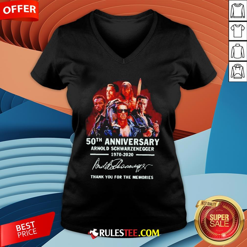 Arnold Schwarzenegger 50th Anniversary Thank You For The Memories V-neck - Design By Rulestee.com