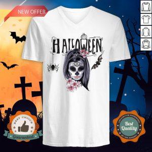 Halloween Sugar Skull Girl Day Of Dead Muertos V-neck
