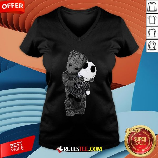 Cute Baby Groot Hug Jack Skellington V-neck - Design By Rulestee.com
