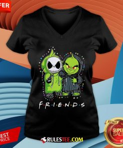 Baby Jack Skeleton And Baby Green Friends Light Christmas V-neck - Design By Rulestee.com