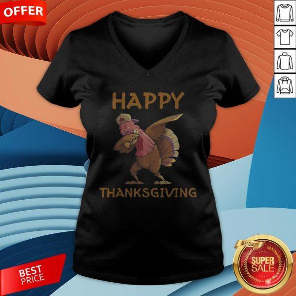 Funny Turkey Happy Thanksgiving Day V-neck