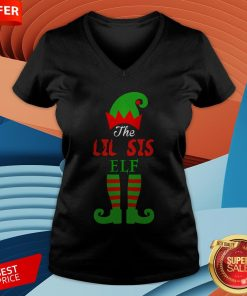 Cute The Lil Sis Elf Christmas V-neck