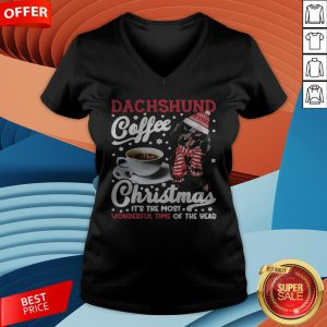 Dachshund Coffee Christmas It's The Most Wonderful Time Of The Year V-neck