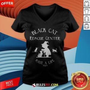 Black Cat Rescue Center Save A Life Salem Witch Halloween V-neck - Design By Rulestee.com