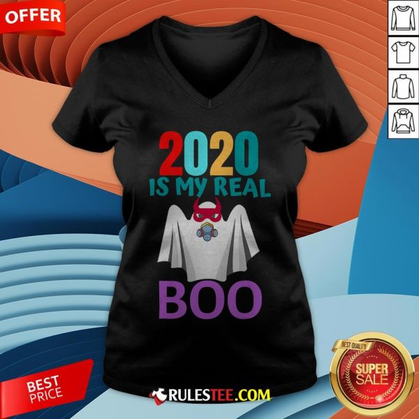 Colorful 2020 Is My Real Boo Ghost Halloween V-neck - Design By Rulestee.com