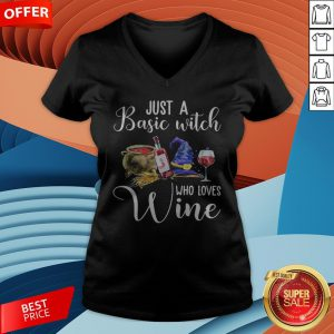 Official Just A Basic Witch Who Loves Wine V-neck