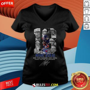 18 Marc Staal New York Rangers 2007 2020 Thank You For The Memories Signature V-neck - Design By Rulestee.com