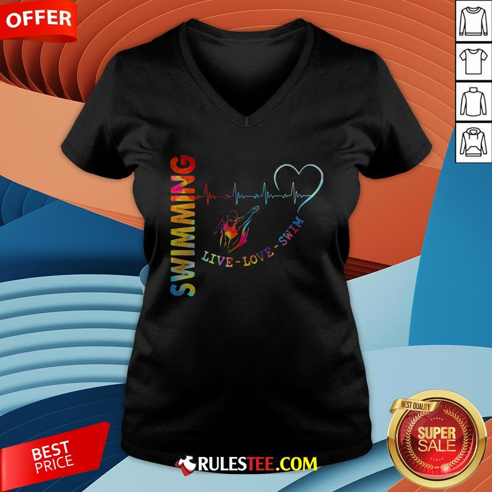 Colorful Swimming Live Love Swin Heart Beat V-neck - Design By Rulestee.com