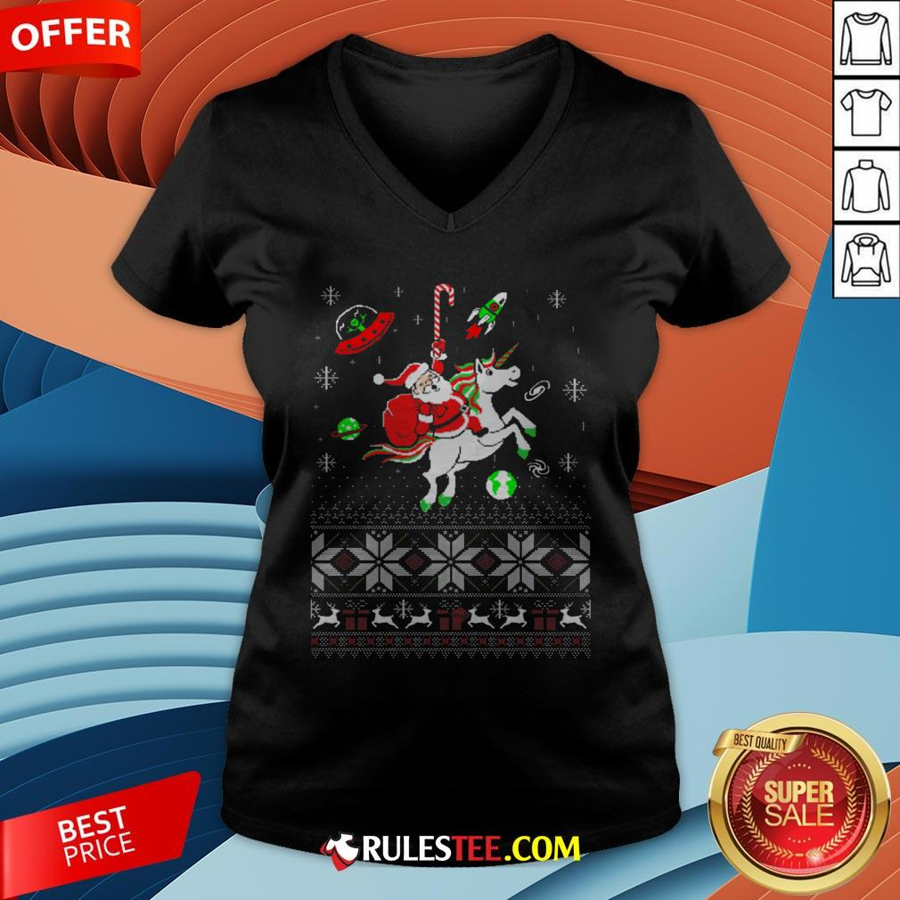 Colorful Santa Unicorn Ugly Christmas V-neck - Design By Rulestee.com