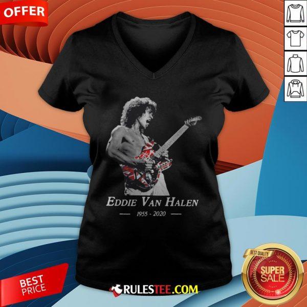 Premium Rip Eddie Van Halen 1955 2020 V-neck - Design By Rulestee.com