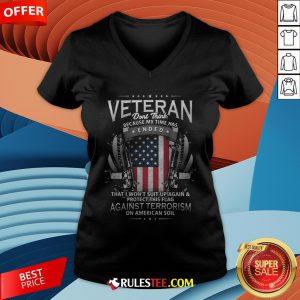 Veteran Ended Against Terrorism On American Soil America Flag V-neck - Design By Rulestee.com