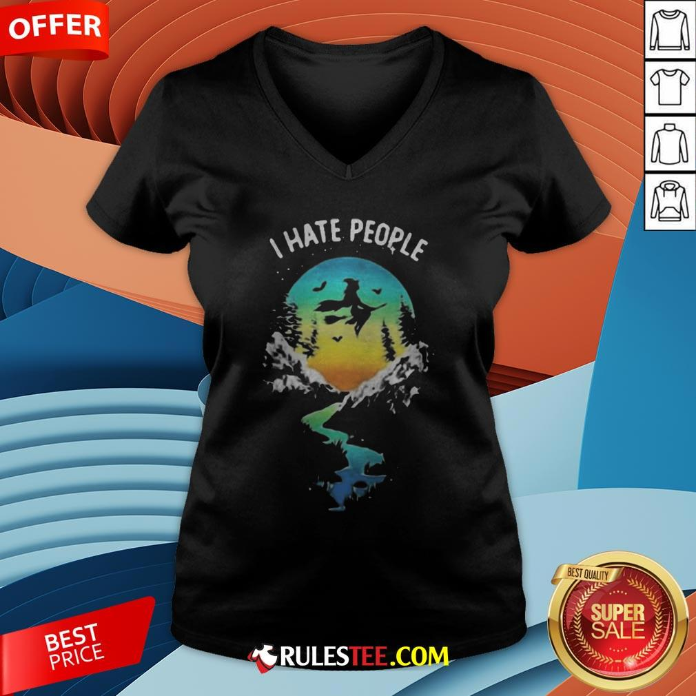 Witch Go Camping I Hate People Halloween V-neck - Design By Rulestee.com