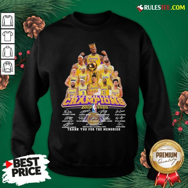 Awesome Los Angeles Lakers 2019-2020 NBA Finals Champions Thank You For The Memories Signatures Sweatshirt - Design By Rulestee.com