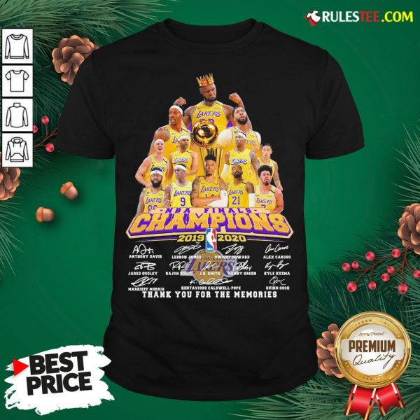Awesome Los Angeles Lakers 2019-2020 NBA Finals Champions Thank You For The Memories Signatures Shirt - Design By Rulestee.com