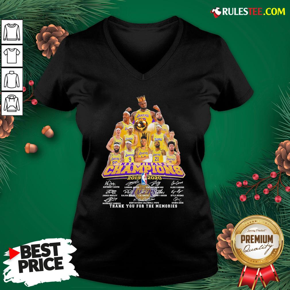 Awesome Los Angeles Lakers 2019-2020 NBA Finals Champions Thank You For The Memories Signatures V-neck - Design By Rulestee.com