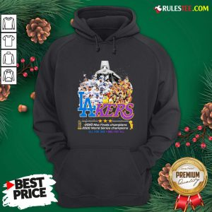 Pretty Los Angeles Dodgers And Lakers 2020 NBA Champions world series Champions All For One One For All Hoodie - Design By Rulestee.com