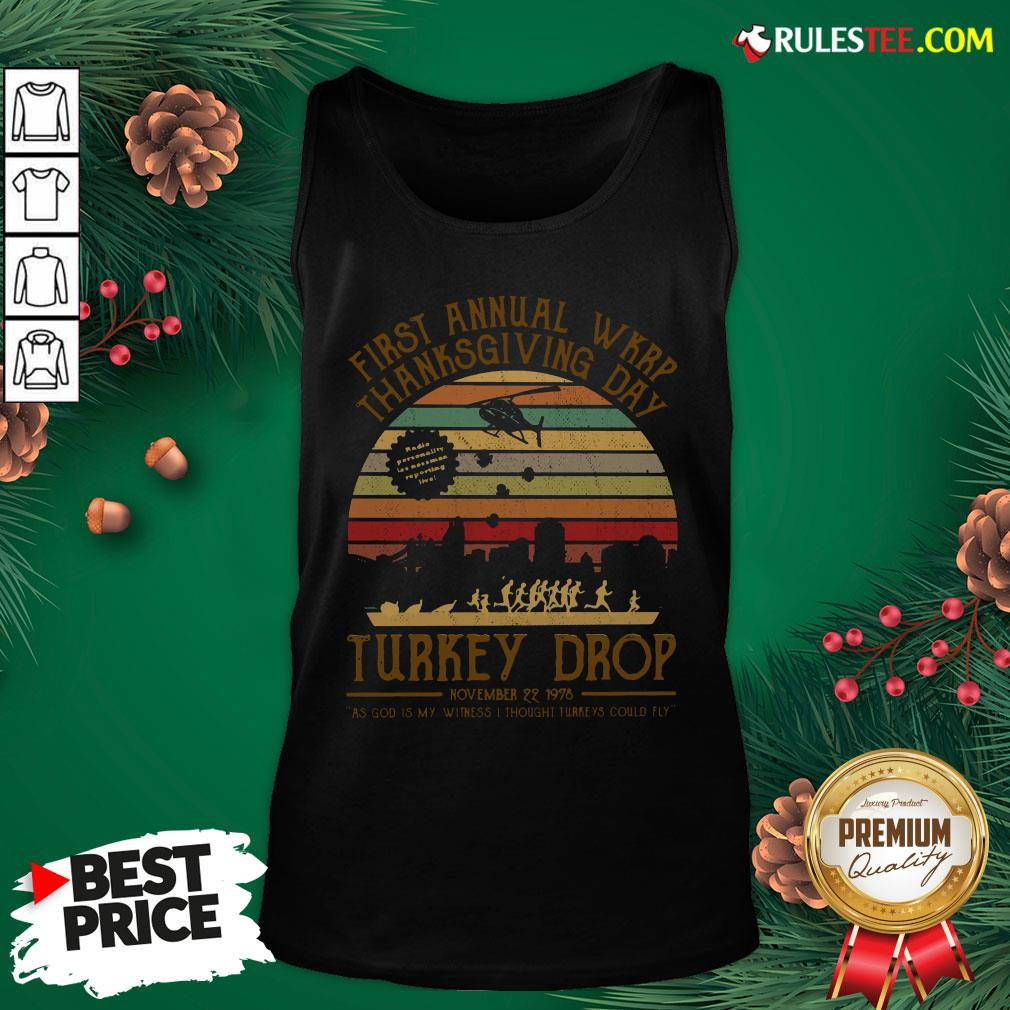 Awesome First Annual Wkrp Thanksgiving Day Turkey Drop November 22 1978 Vintage Tank Top - Design By Rulestee.com