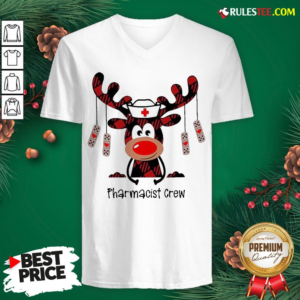 Awesome Plaid Reindeer Pharmacist Crew Christmas V-neck - Design By Rulestee.com