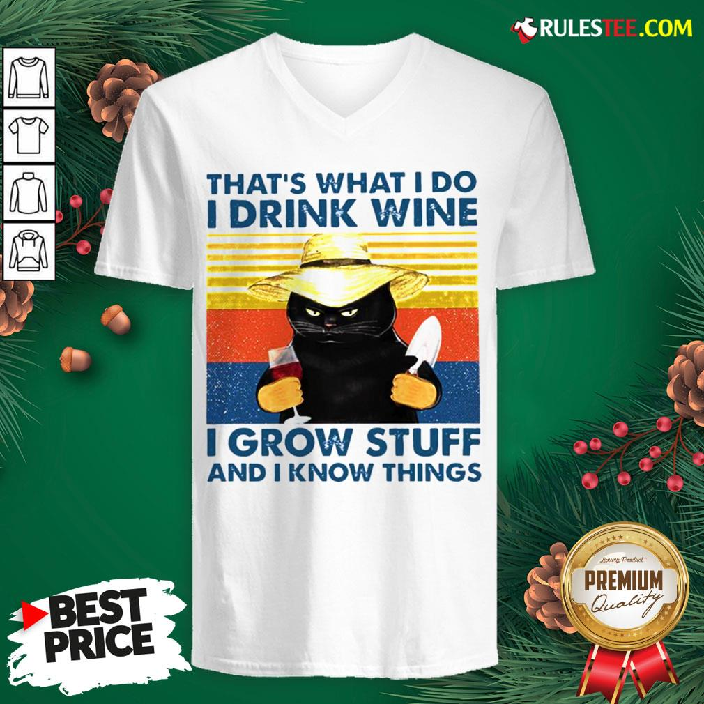 Awesome That?s What I Do I Drink Wine I Grow Stuff And I Know Things Vintage V-neck - Design By Rulestee.com