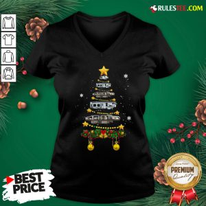 Funny Camping Car Christmas Tree V-neck - Design By Rulestee.com