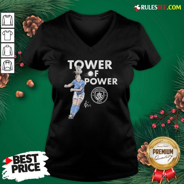 Funny Manchester City Sam Mewis Tower Of Power Signature V-neck - Design By Rulestee.com