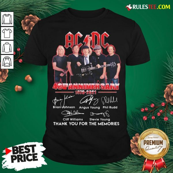 Good ACDC 48th Anniversary 1973 2021 Thank You For The Memories Signatures Shirt- Design By Rulestee.com