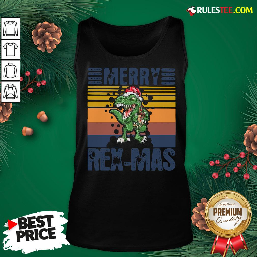 Good Christmas Santa T-Rex Merry Rexmas Vintage Tank Top - Design By Rulestee.com
