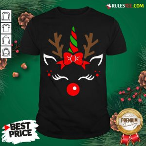 Good Unicorn Face Reindeer Antlers Christmas Funny Pet Kids Gifts Shirt - Design By Rulestee.com