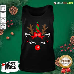 Good Unicorn Face Reindeer Antlers Christmas Funny Pet Kids Gifts Tank Top- Design By Rulestee.com