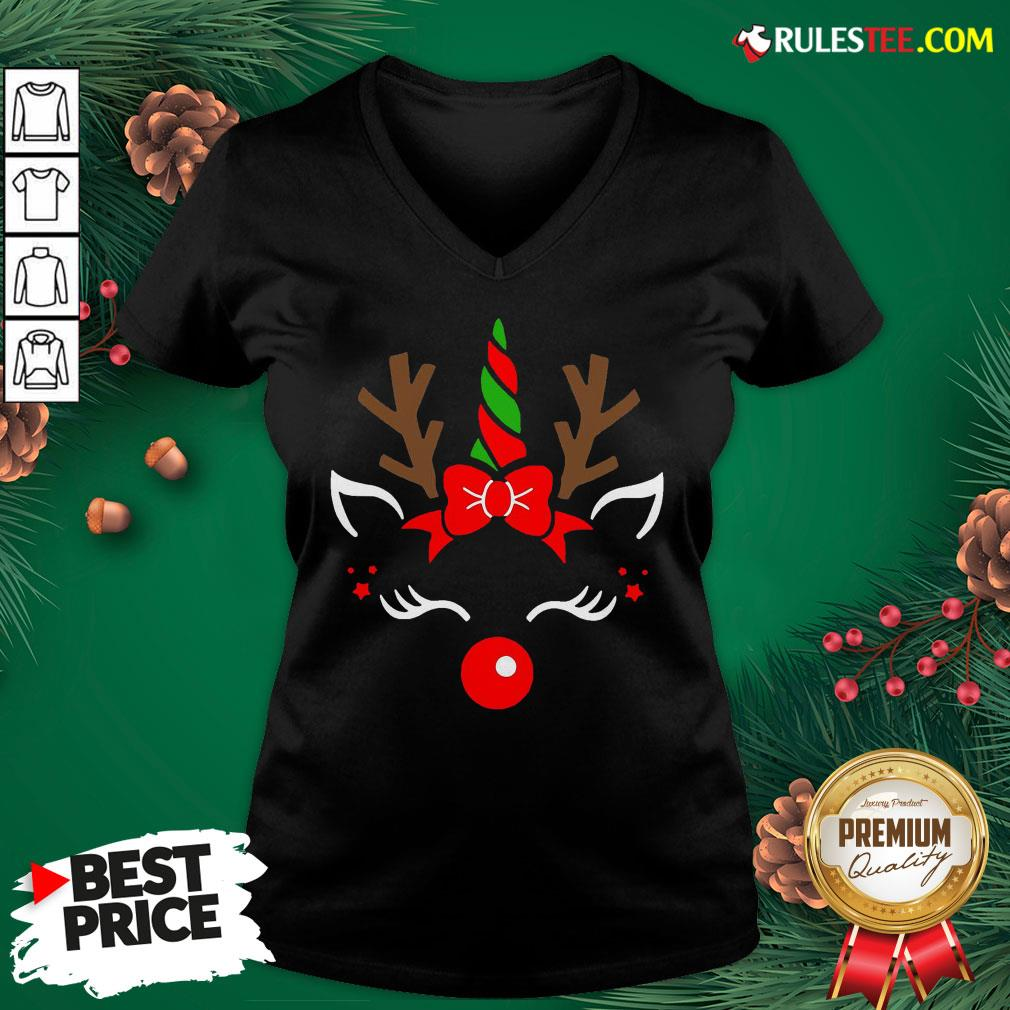 Good Unicorn Face Reindeer Antlers Christmas Funny Pet Kids Gifts V-neck - Design By Rulestee.com