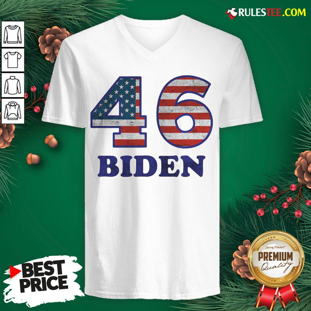 Hot 46 Joe Biden 2020 Us President Election Pro Biden Democrat Flag V-neck- Design By Rulestee.com