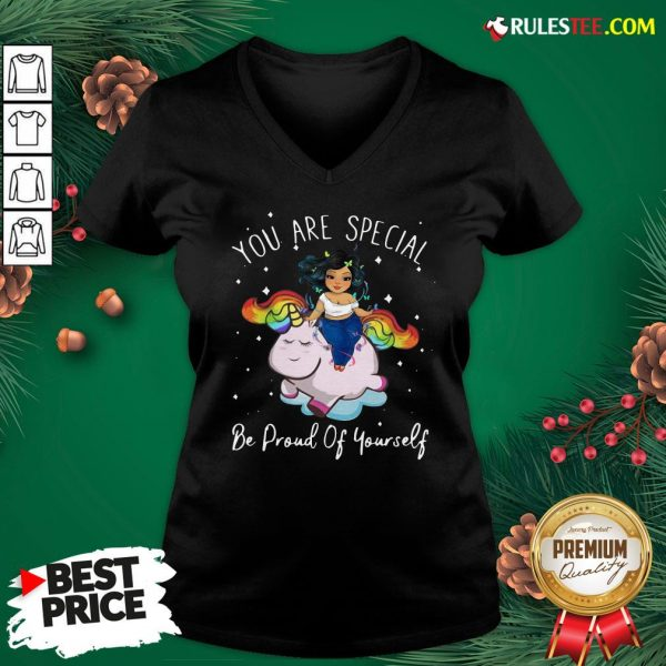 Hot Chubby Girls Riding Unicorn You Are Special Be Proud Of Yourself V-neck - Design By Rulestee.com
