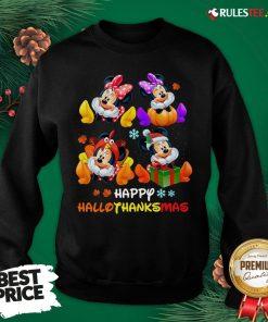 Hot Minnie Mouse Happy Hallothanksmas Sweatshirt- Design By Rulestee.com