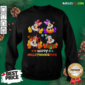Hot Minnie Mouse Happy Hallothanksmas Sweatshirt- Design By Rulestee.com