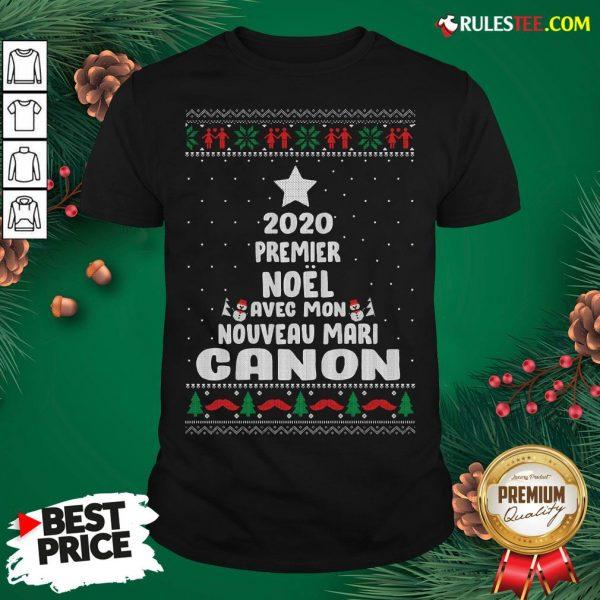 Nice 2020 Premier Noel Avec Mon Nouveau Mari Canon Ugly Christmas Shirt- Design By Rulestee.com