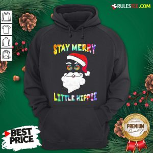 Nice Santa Claus Say Merry Little Hippie Christmas Hoodie - Design By Rulestee.com