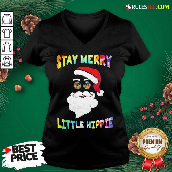 Nice Santa Claus Say Merry Little Hippie Christmas V-neck - Design By Rulestee.com