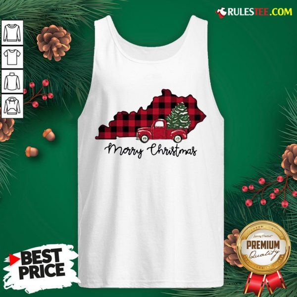 Official Kentucky Merry Christmas Tree Tank Top - Design By Rulestee.com