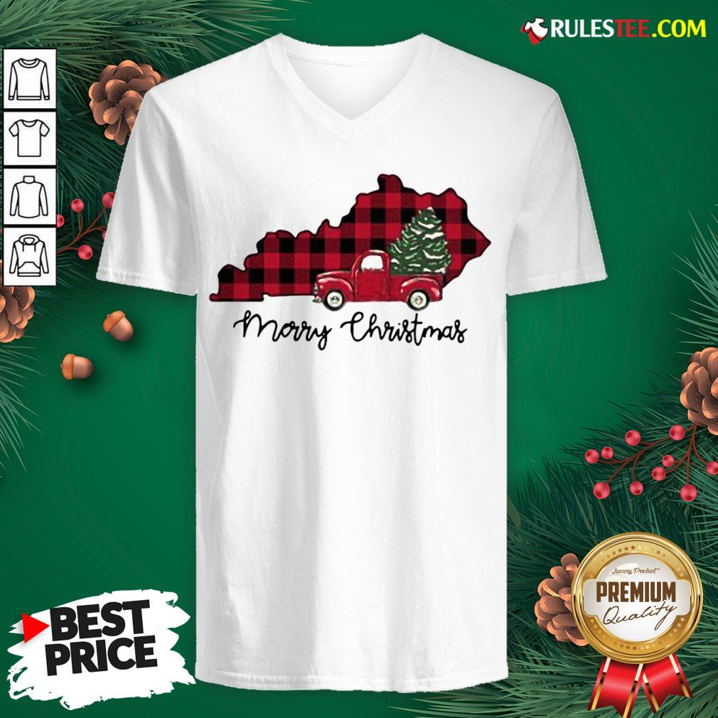 Official Kentucky Merry Christmas Tree V-neck - Design By Rulestee.com