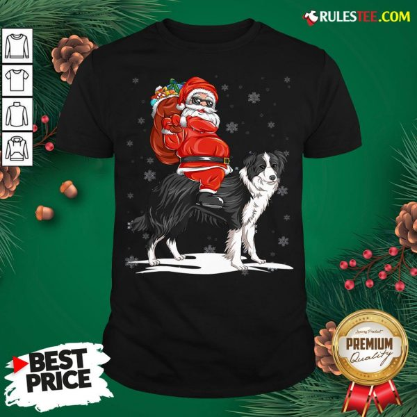 Official Santa Claus Riding Border Collie Christmas 2020 Shirt - Design By Rulestee.com
