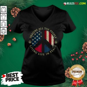 Original Imagine All The People Living Life In Peace American Flag V-neck - Design By Rulestee.com