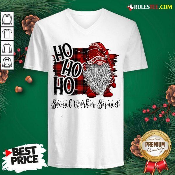 Original Plaid Gnome Ho Ho Ho Social Worker Squad V-neck - Design By Rulestee.com