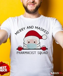 Original Santa Face Mask Merry And Masked Pharmacist Squad Christmas Shirt - Design By Rulestee.com