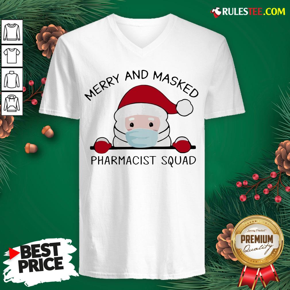 Original Santa Face Mask Merry And Masked Pharmacist Squad Christmas V-neck - Design By Rulestee.com